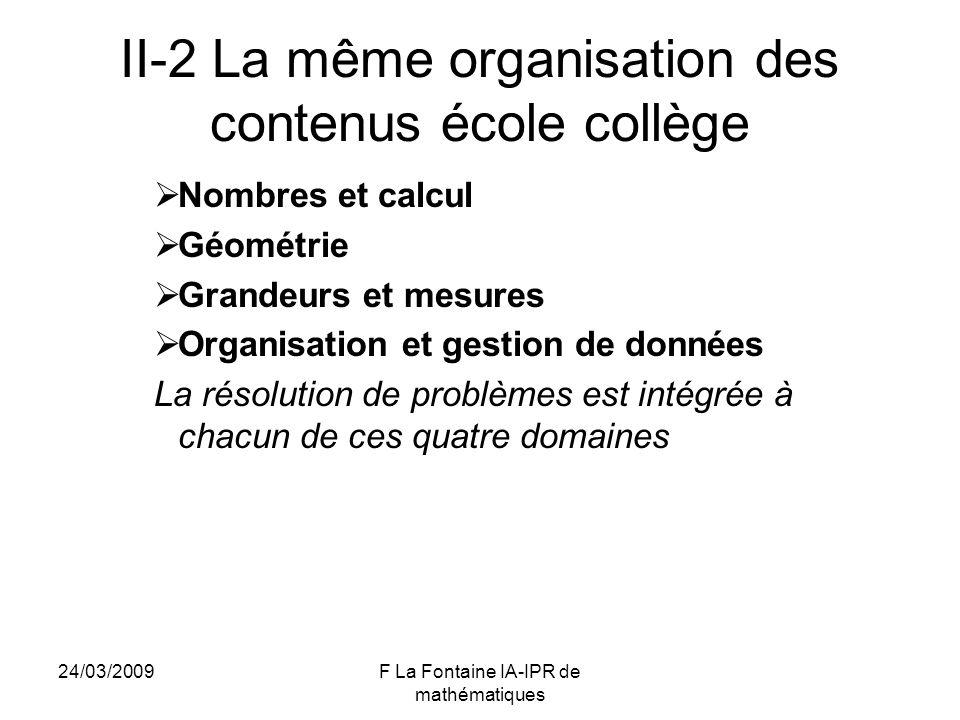 II-2 La même organisation des contenus école collège