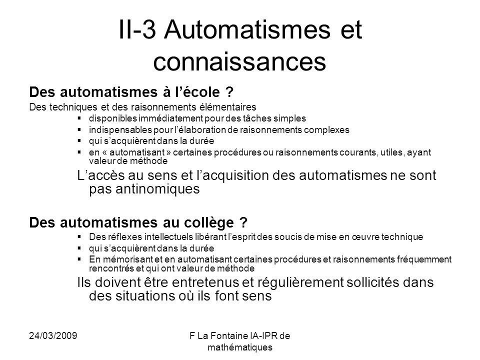 II-3 Automatismes et connaissances