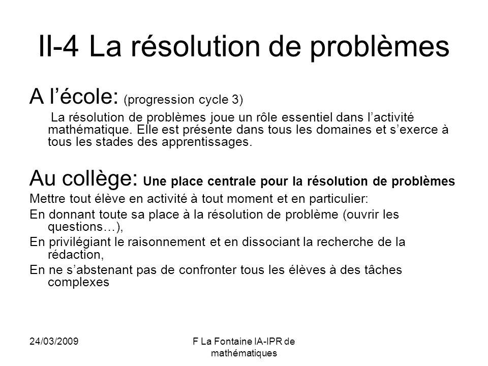 II-4 La résolution de problèmes