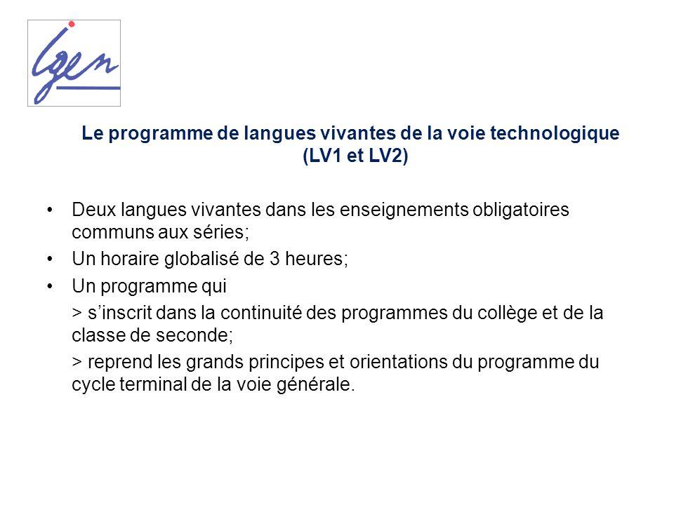 Le programme de langues vivantes de la voie technologique (LV1 et LV2)