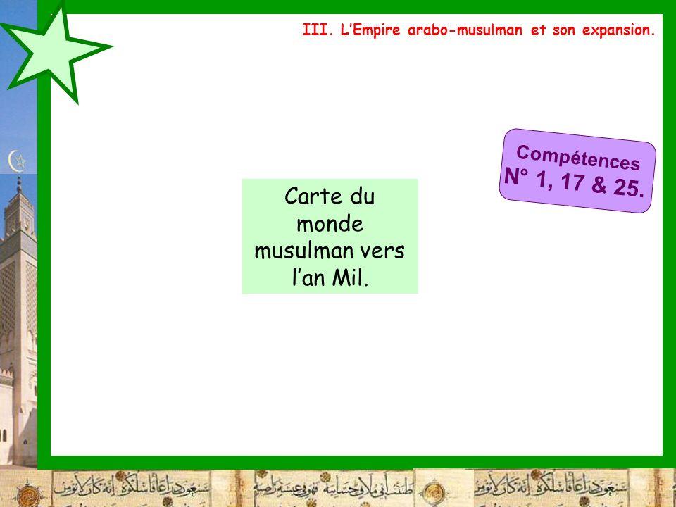 Carte du monde musulman vers l'an Mil.