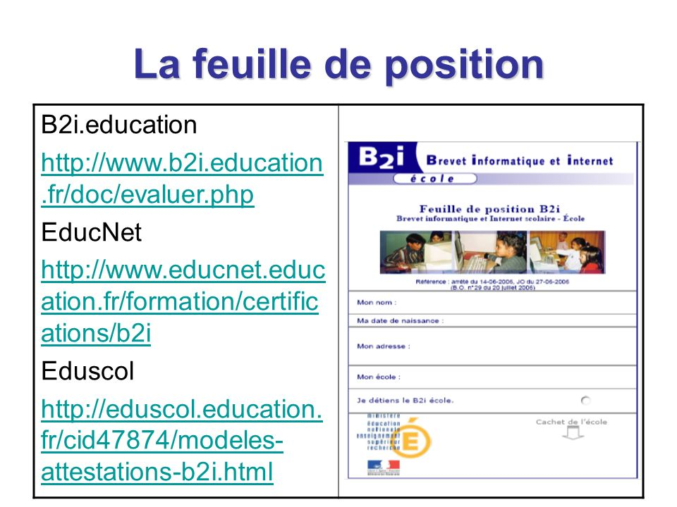 La feuille de position B2i.education