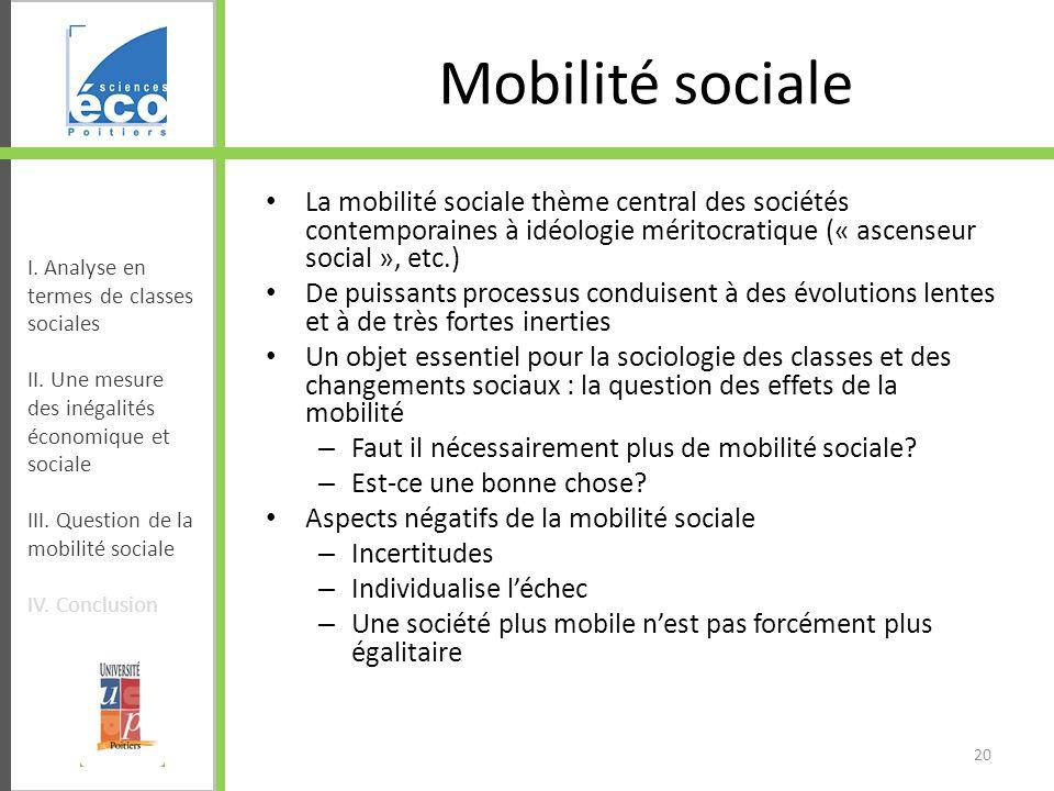 Mobilité sociale La mobilité sociale thème central des sociétés contemporaines à idéologie méritocratique (« ascenseur social », etc.)