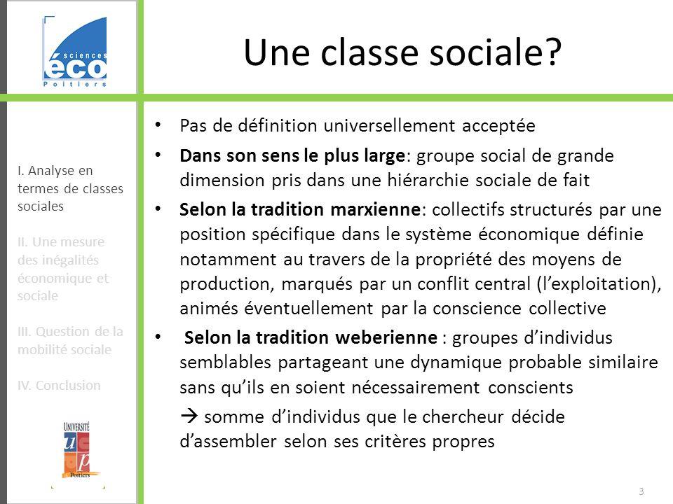 Une classe sociale Pas de définition universellement acceptée