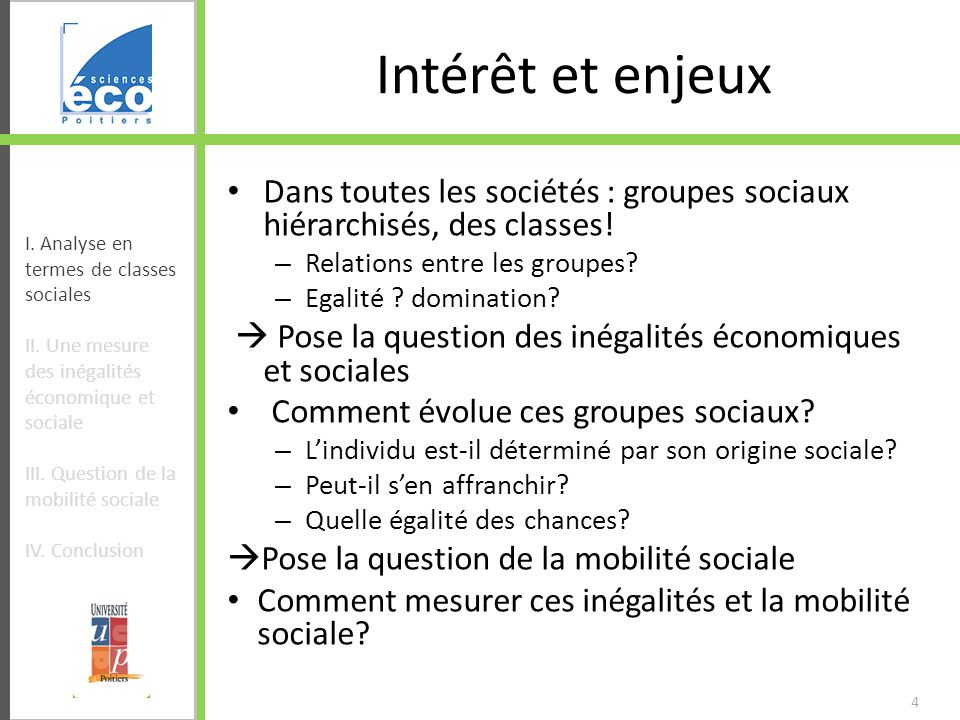 Intérêt et enjeux Dans toutes les sociétés : groupes sociaux hiérarchisés, des classes! Relations entre les groupes