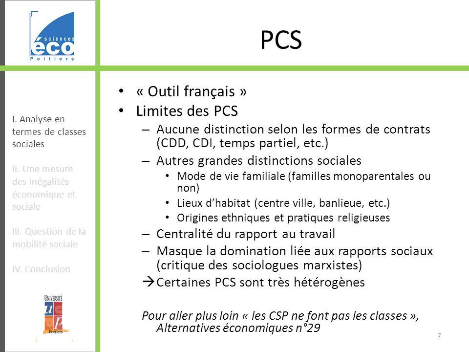 PCS « Outil français » Limites des PCS