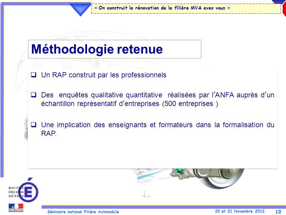 Méthodologie retenue Un RAP construit par les professionnels