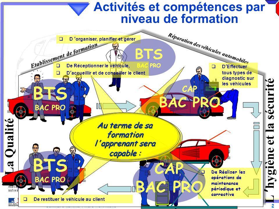 Activités et compétences par niveau de formation
