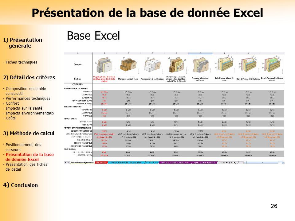 Présentation de la base de donnée Excel