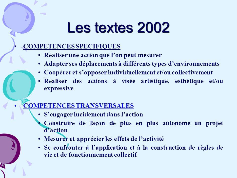 Les textes 2002 COMPETENCES SPECIFIQUES