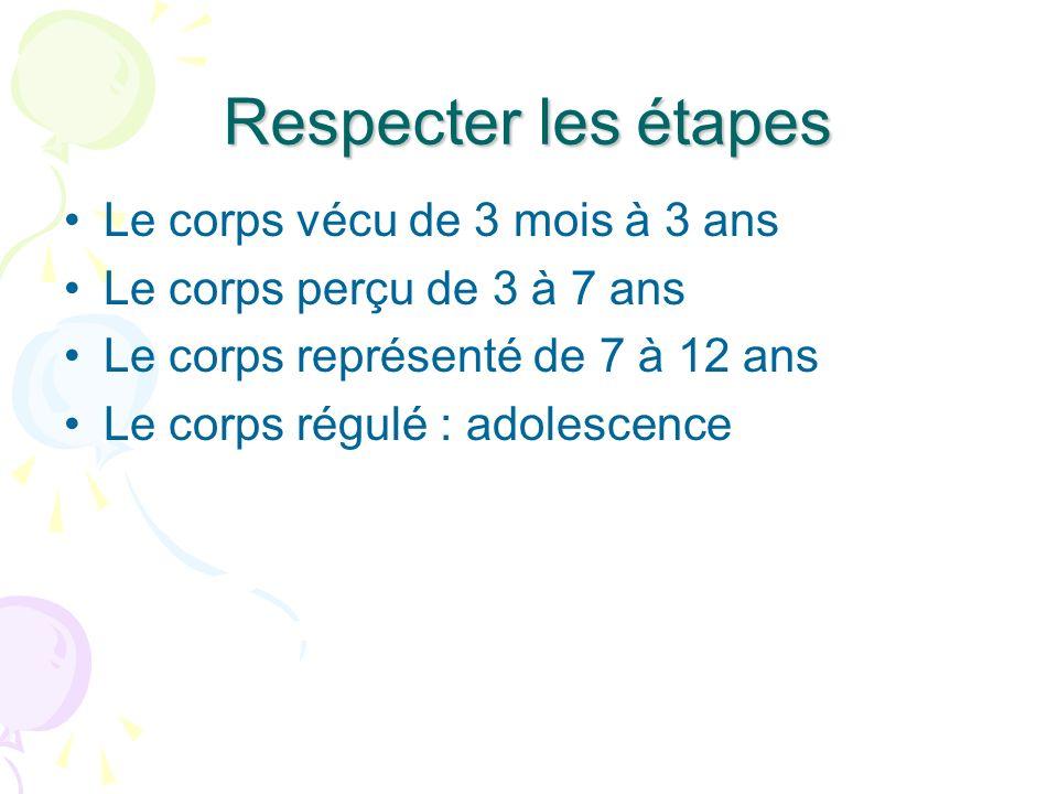 Respecter les étapes Le corps vécu de 3 mois à 3 ans