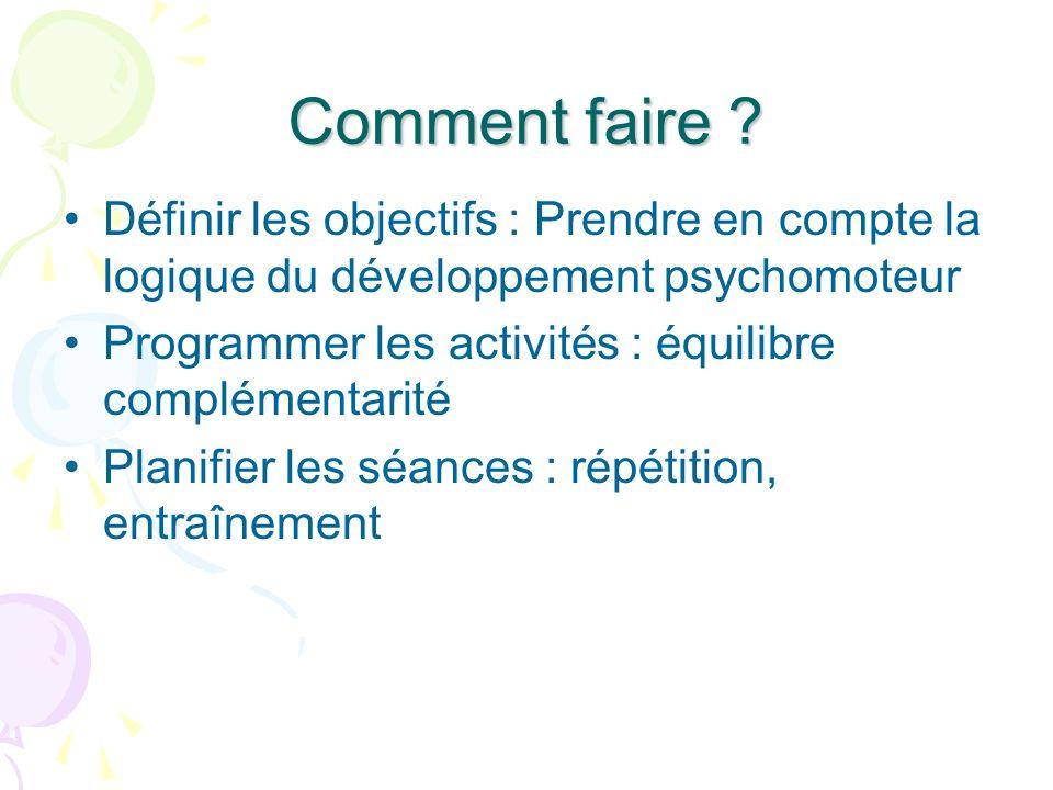 Comment faire Définir les objectifs : Prendre en compte la logique du développement psychomoteur.