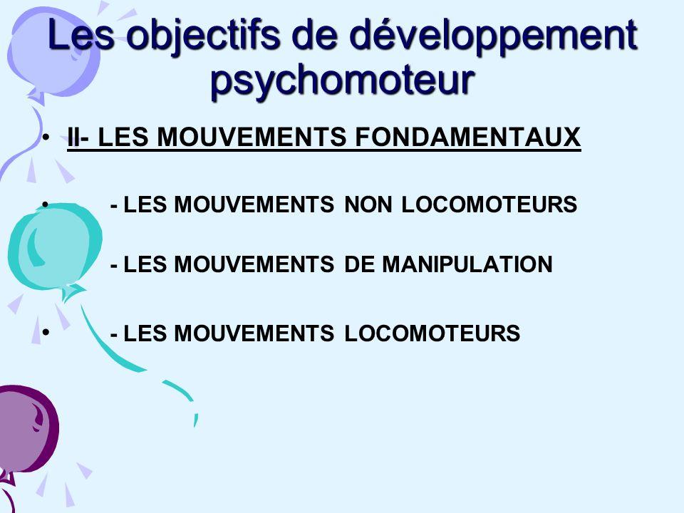 Les objectifs de développement psychomoteur
