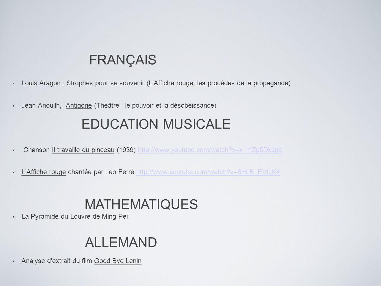 FRANÇAIS EDUCATION MUSICALE MATHEMATIQUES ALLEMAND