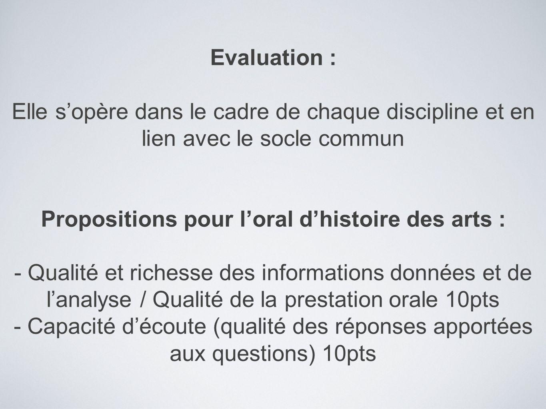 Propositions pour l'oral d'histoire des arts :
