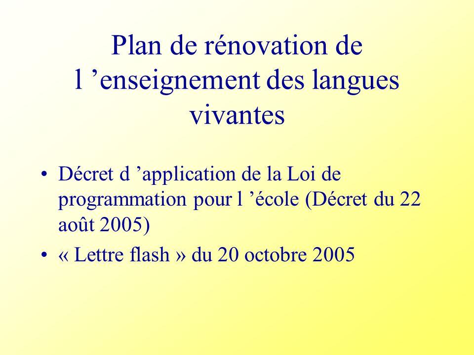 Plan de rénovation de l 'enseignement des langues vivantes