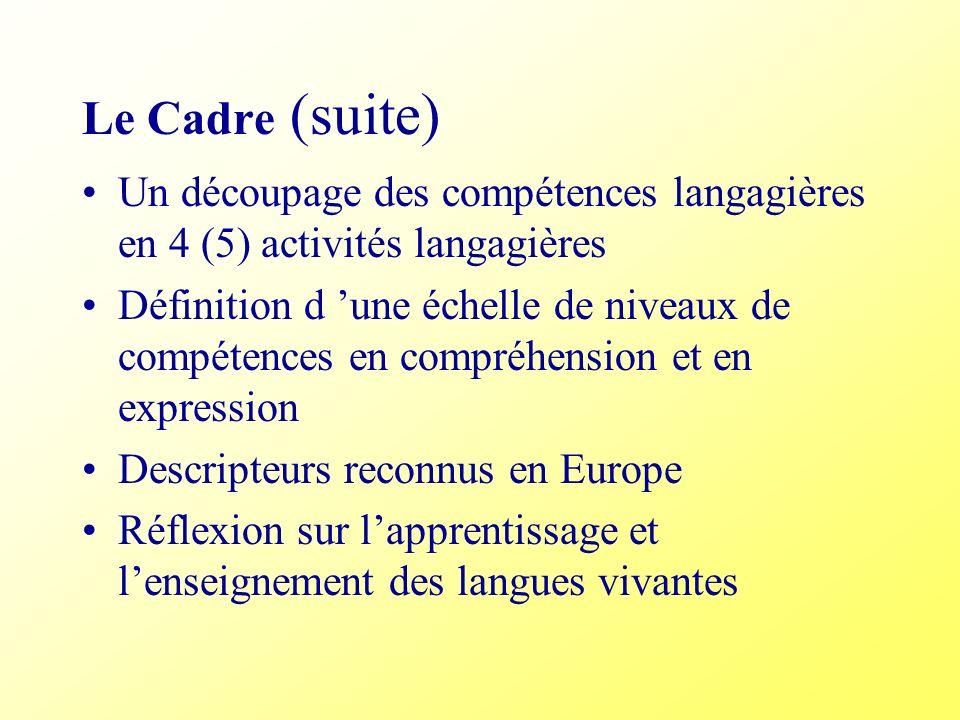 Le Cadre (suite) Un découpage des compétences langagières en 4 (5) activités langagières.
