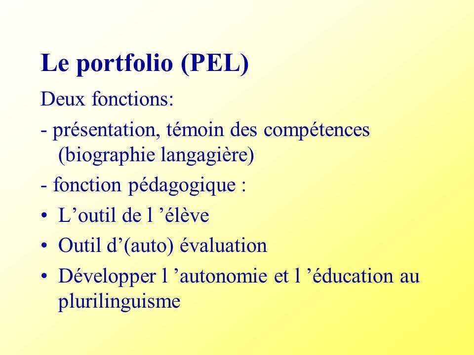 Le portfolio (PEL) Deux fonctions: