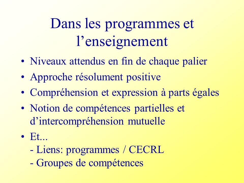 Dans les programmes et l'enseignement