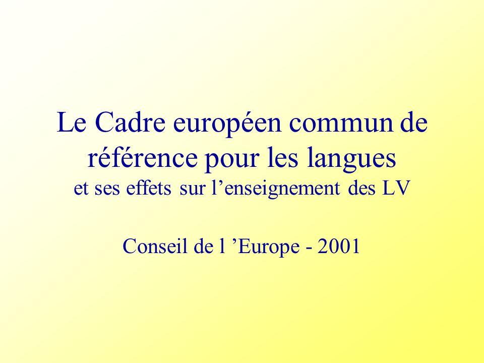 Le Cadre européen commun de référence pour les langues et ses effets sur l'enseignement des LV