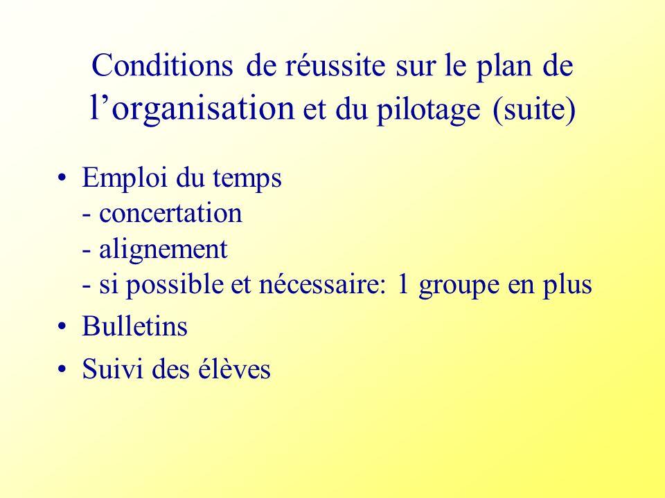 Conditions de réussite sur le plan de l'organisation et du pilotage (suite)