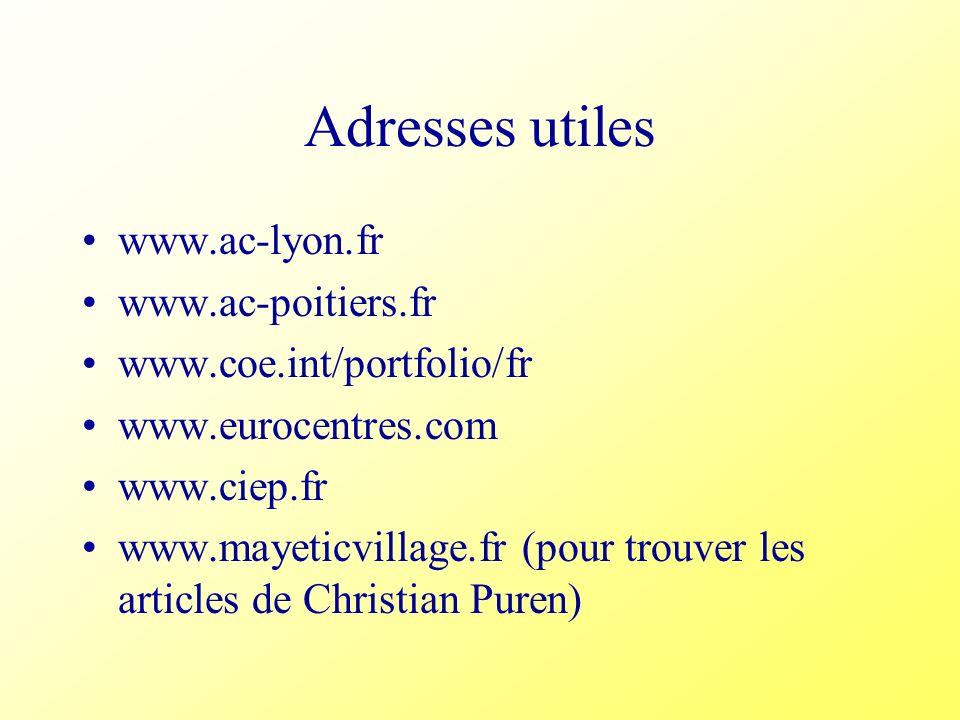Adresses utiles www.ac-lyon.fr www.ac-poitiers.fr