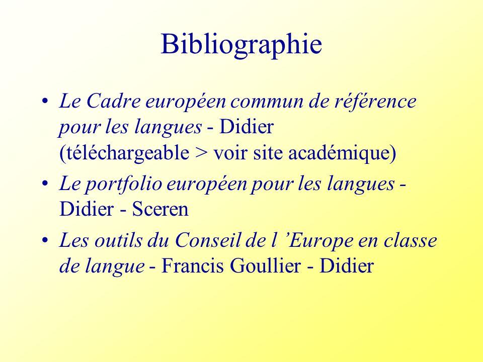 BibliographieLe Cadre européen commun de référence pour les langues - Didier (téléchargeable > voir site académique)
