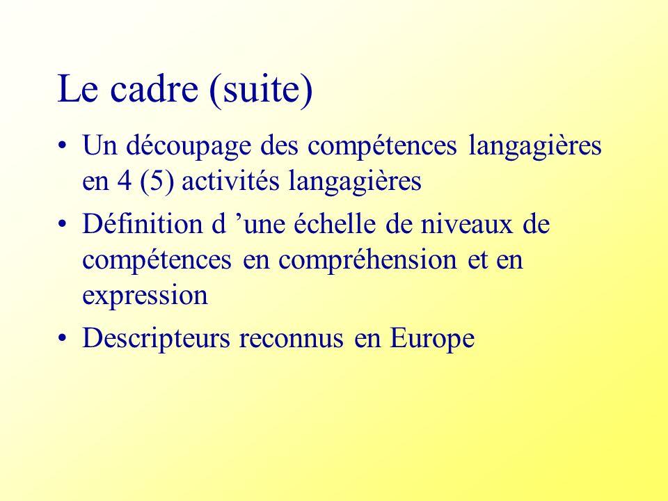 Le cadre (suite)Un découpage des compétences langagières en 4 (5) activités langagières.