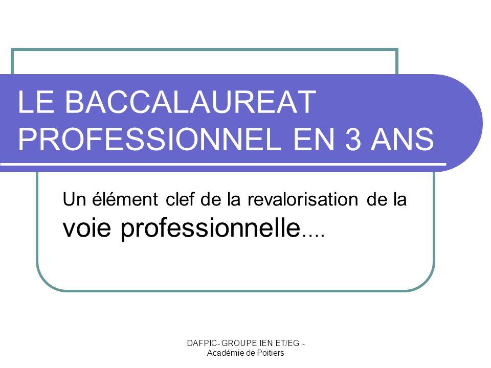 LE BACCALAUREAT PROFESSIONNEL EN 3 ANS