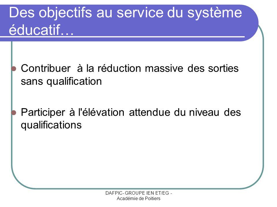 Des objectifs au service du système éducatif…