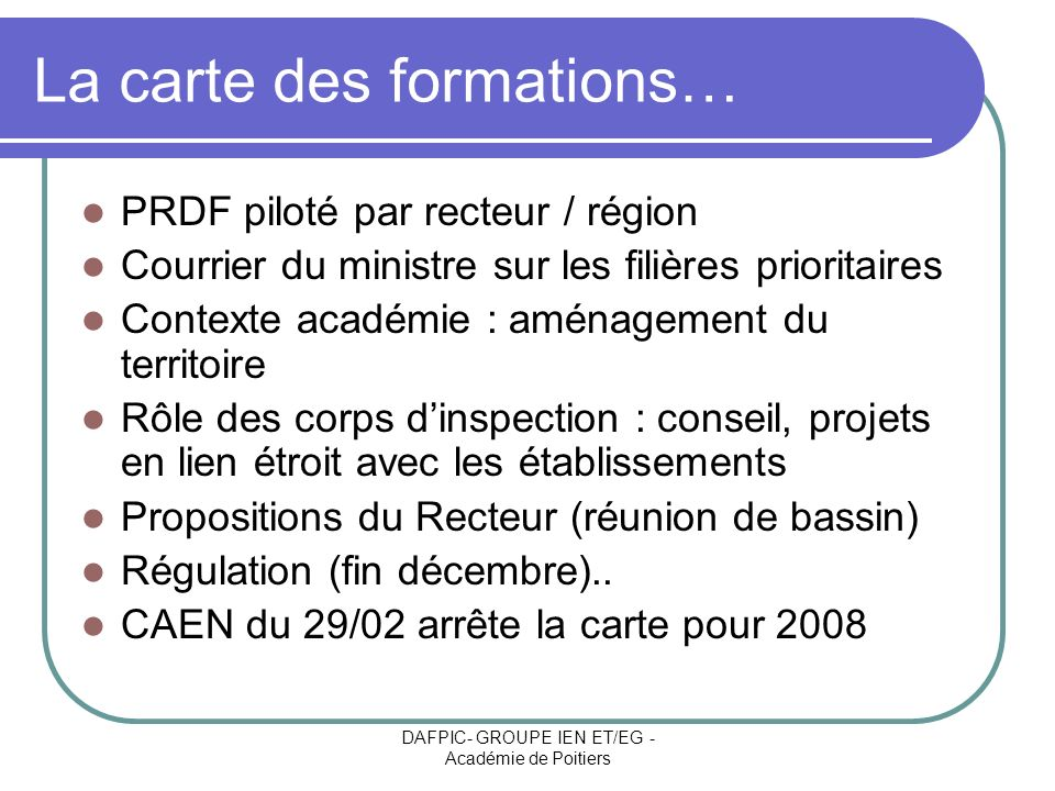 La carte des formations…