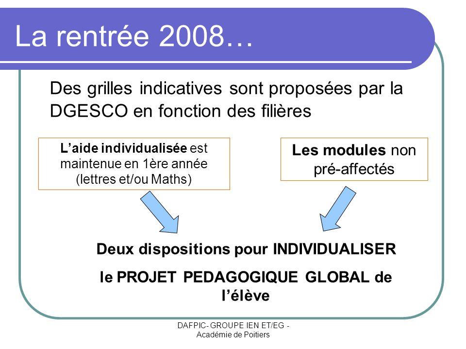 La rentrée 2008… Des grilles indicatives sont proposées par la DGESCO en fonction des filières.
