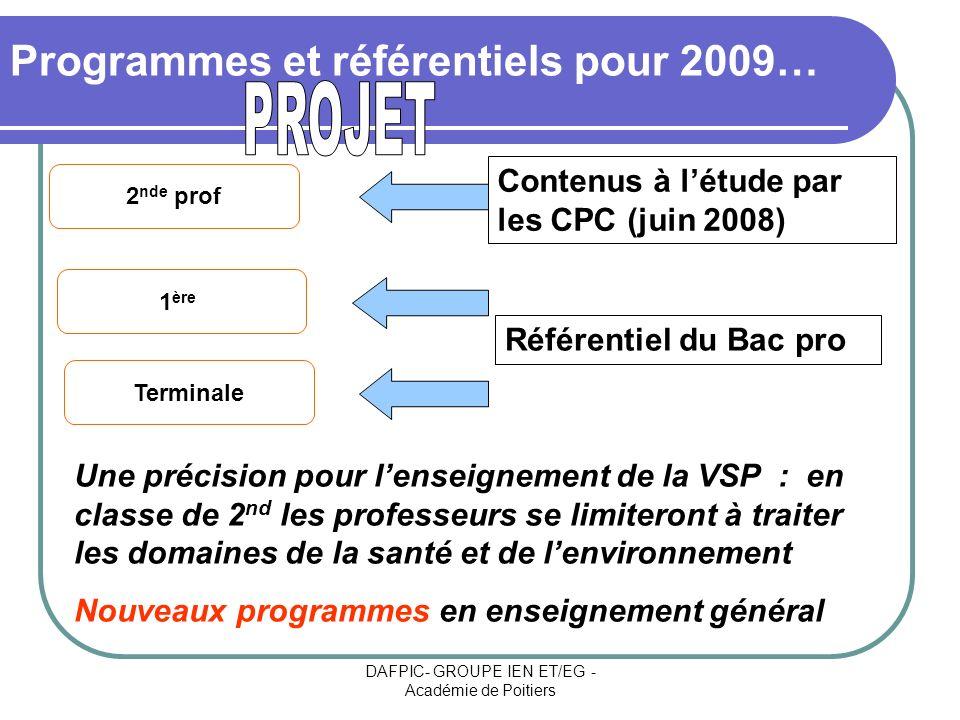 Programmes et référentiels pour 2009…