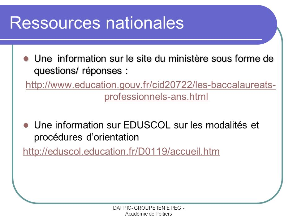 Ressources nationales