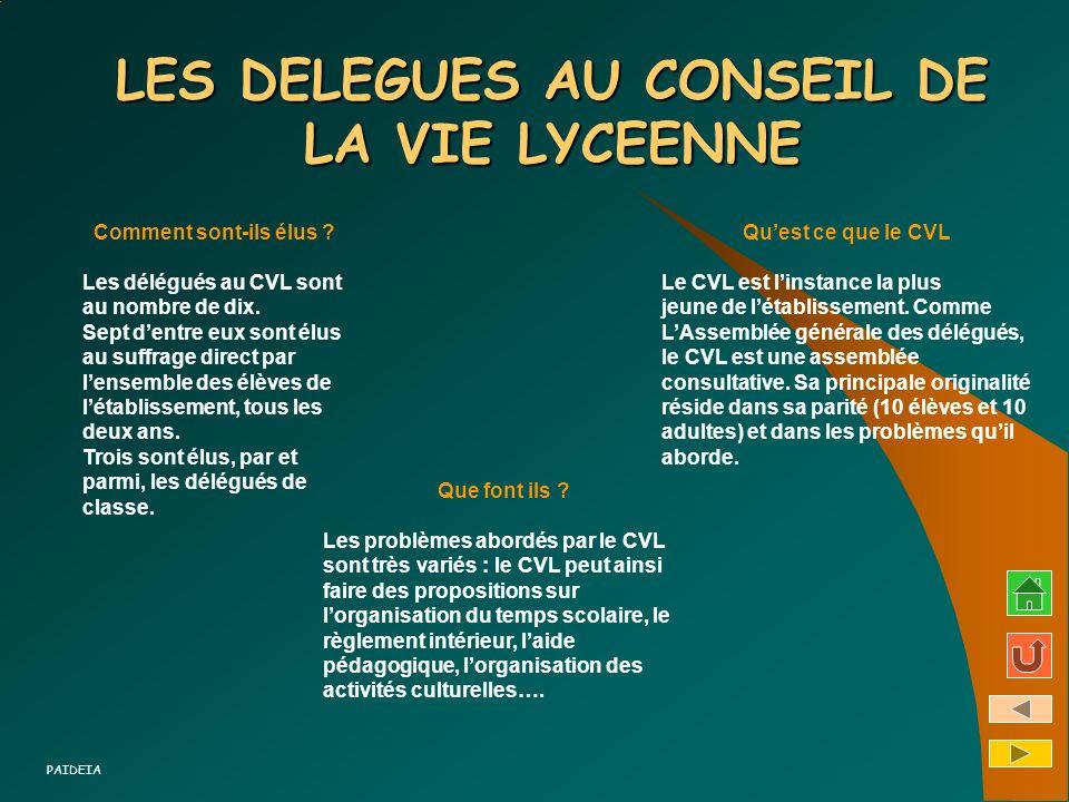 LES DELEGUES AU CONSEIL DE LA VIE LYCEENNE