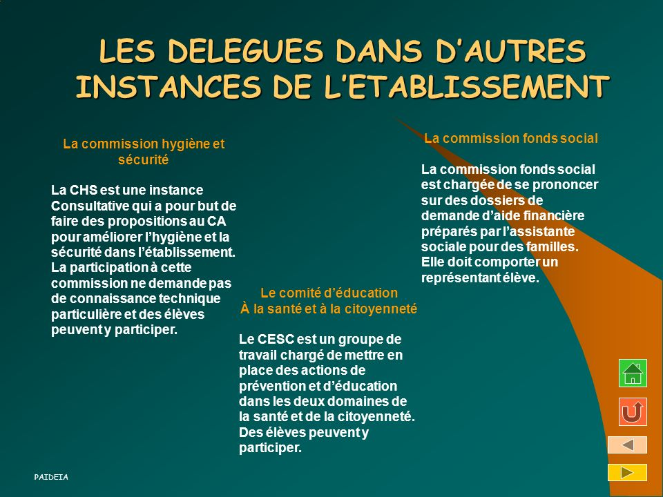LES DELEGUES DANS D'AUTRES INSTANCES DE L'ETABLISSEMENT