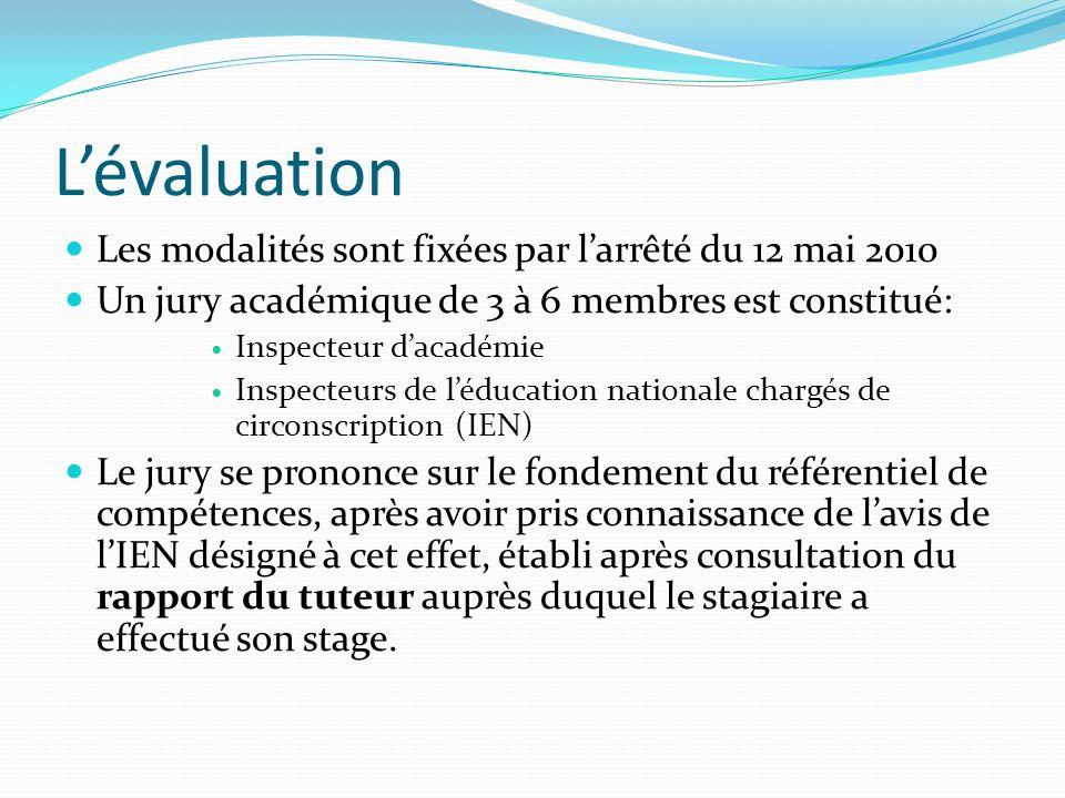 L'évaluation Les modalités sont fixées par l'arrêté du 12 mai 2010