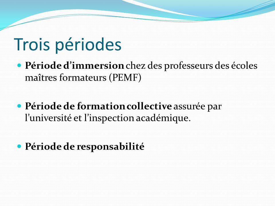Trois périodes Période d'immersion chez des professeurs des écoles maîtres formateurs (PEMF)