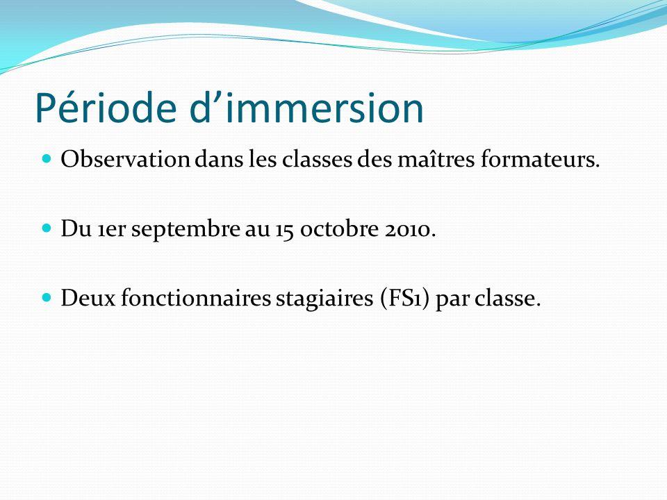 Période d'immersion Observation dans les classes des maîtres formateurs. Du 1er septembre au 15 octobre 2010.