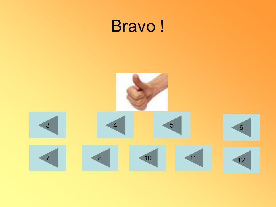 Bravo ! 3 4 5 6 7 8 10 11 12