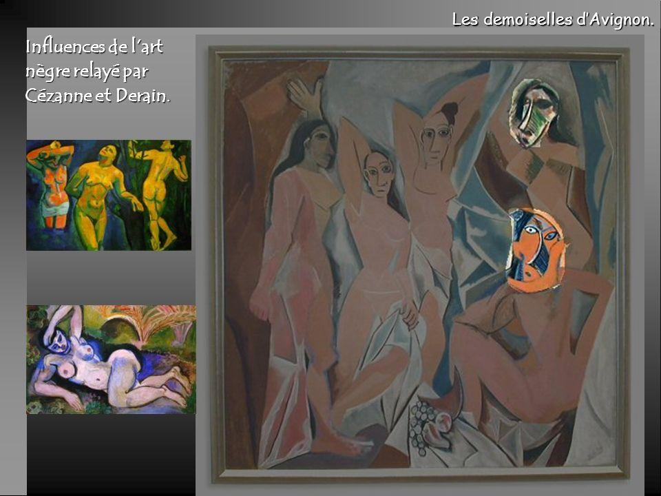 Influences de l'art nègre relayé par Cézanne et Derain.