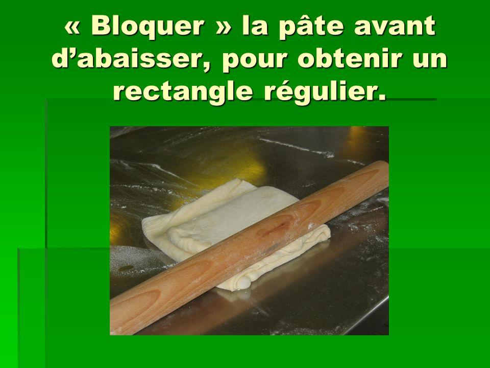 « Bloquer » la pâte avant d'abaisser, pour obtenir un rectangle régulier.