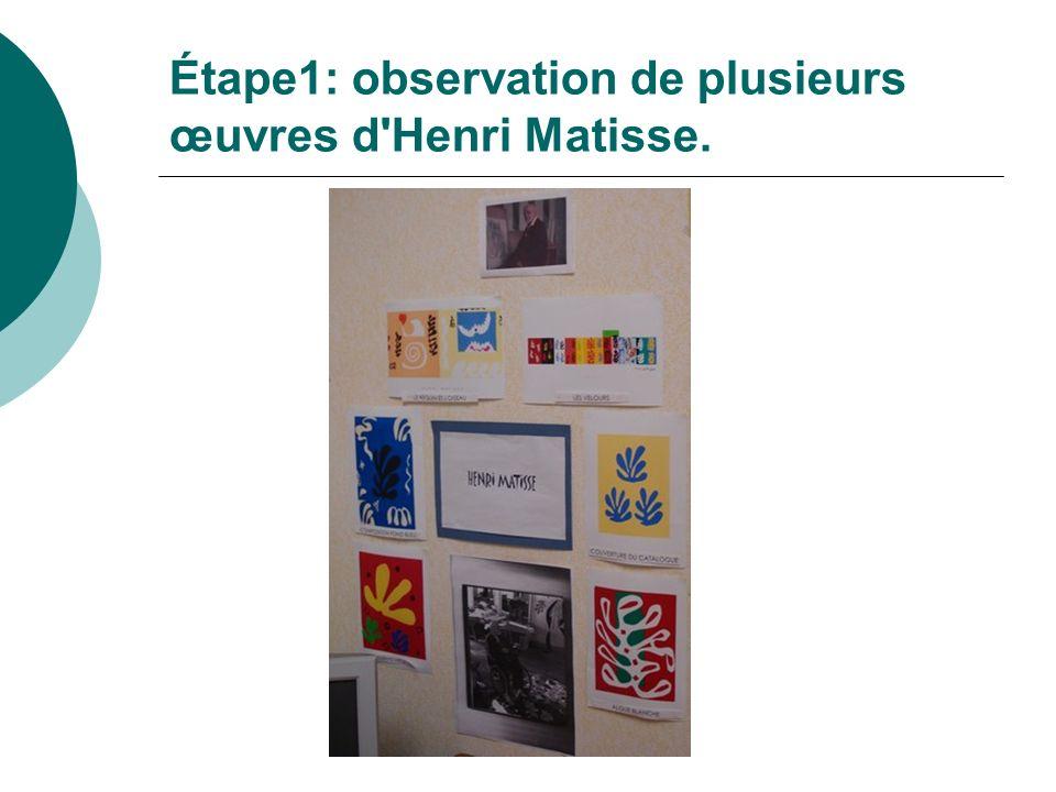 Étape1: observation de plusieurs œuvres d Henri Matisse.