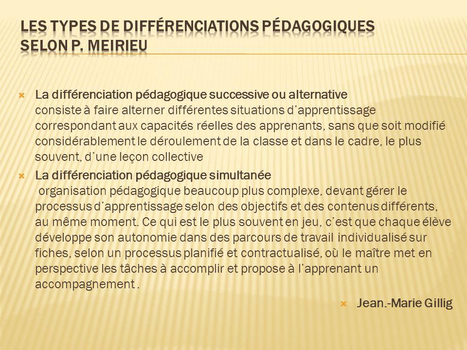 Les types de différenciations pédagogiques selon P. Meirieu