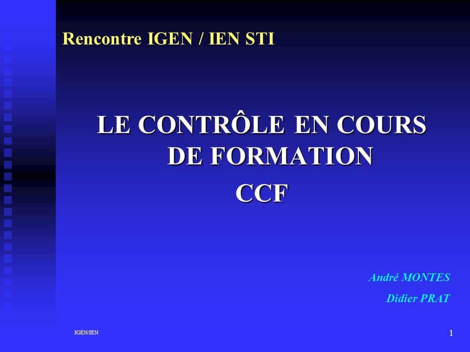 LE CONTRÔLE EN COURS DE FORMATION