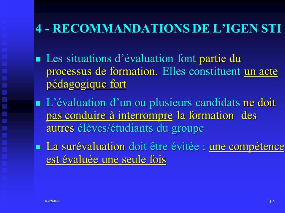 4 - RECOMMANDATIONS DE L'IGEN STI