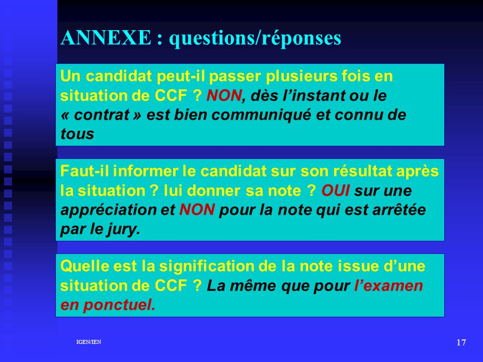 ANNEXE : questions/réponses