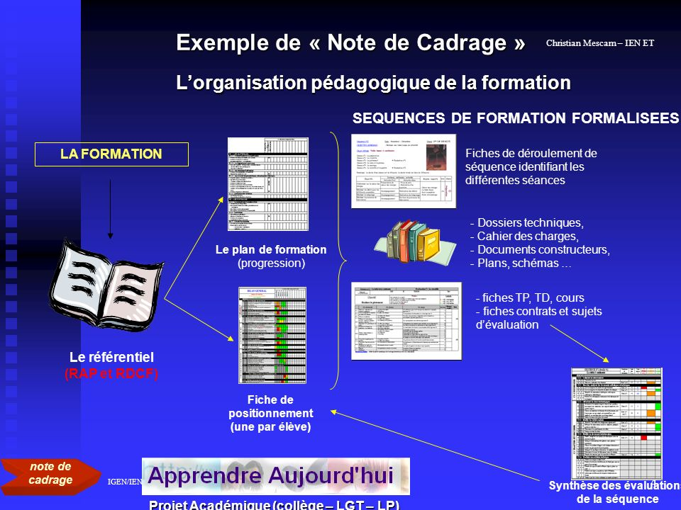 SEQUENCES DE FORMATION FORMALISEES