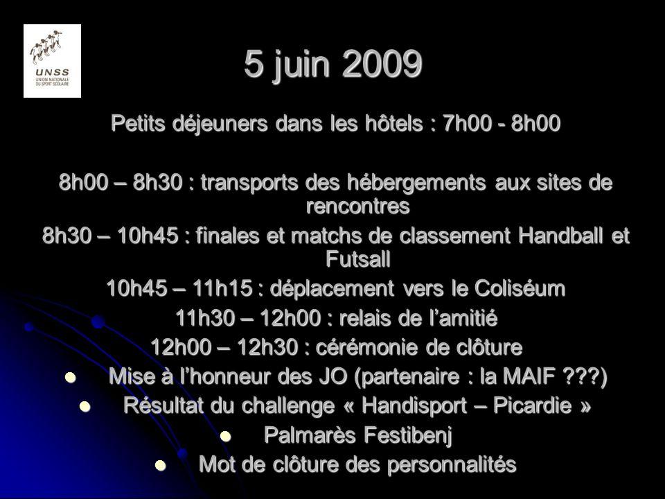 5 juin 2009 Petits déjeuners dans les hôtels : 7h00 - 8h00