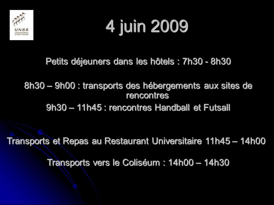4 juin 2009 Petits déjeuners dans les hôtels : 7h30 - 8h30